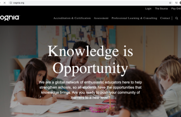 Landing page of the Cognia Webpage